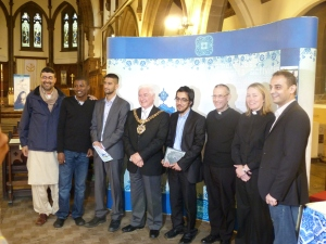 The Lord Mayor of Manchester with the Christian and Muslim speakers at St Chrysostoms