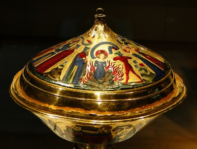 Medieval cup depicting the life of St Agnes in the British Museum