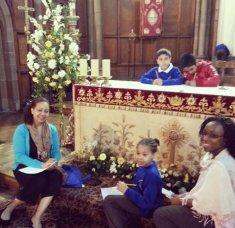 Children and staff enjoying their church visit