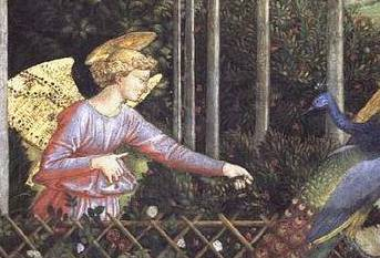 An Angel feeding a Peacock in paradise, detail of a 15th century painting reproduced in the reredos of the Anson Chapel at St Chrysostom's