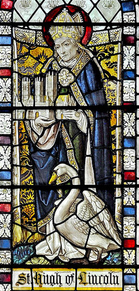 Detail from the Hugh of Lincoln window at St Chrysostom's, the gift of the architect John Ely