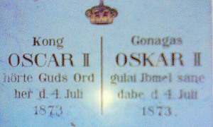Plaque recording King Oscar's visit, inscribed in Norwegian and Sami