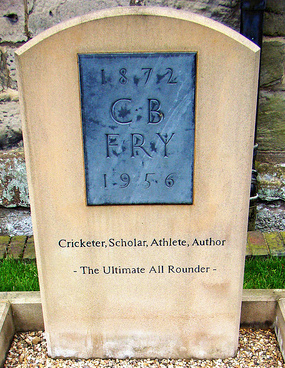 The grave of C B Fry