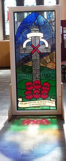 Stained Glass memorial window designed by children of St Chrysostom's School