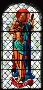 20th century stained glass window of St Hellier, at Barentin, Normandy