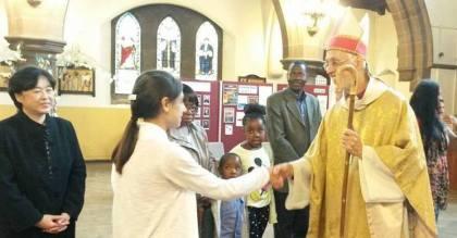 Bianca welcomes Bishop David in Romanian