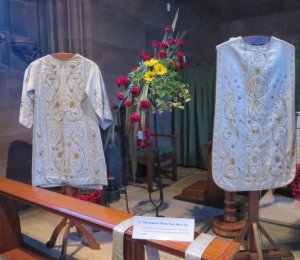 St Chrysostoms White High Mass vestments, formerly used at St Benedict's