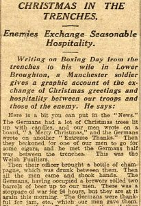 An article in the Manchester Evening News 31st December 1914