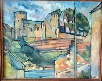 Barnard Castle from Startforth. Oil painting. Douglas Pittuck