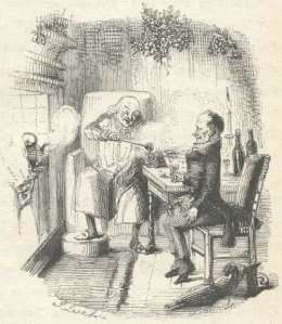 Scrooge and Bap Cratchit with smoking bishop