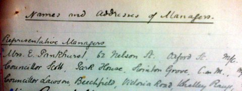 Extract from the 1906 list of School 'Managers' of St Chrysostom's School