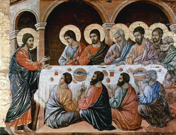 Christ appears to the disciples at the table after the Resurrection (Duccio di Buoninsegna d.1319)