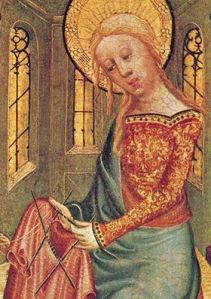 Images from the evening:  Madonna Knitting 15th Century