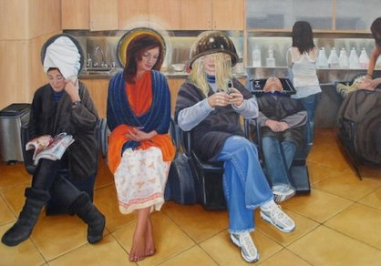 The Virgin Mary in a Los Angeles Hairdressers, Richard Bagguley 21st Century