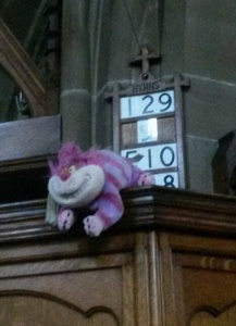 During the anniversary year the Cheshire cat keeps appearing and disappearing in Church