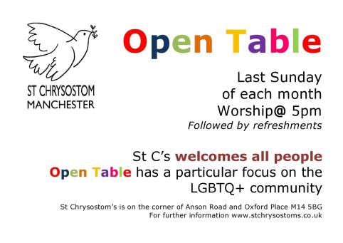 Open Table Welcoming LGBTQ And All St Chrysostoms Church News - Open table uk