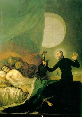 Saint Francis Borgia performs an exorcism (Goya)