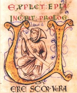 A drawing of Aelred from and ancient manuscript