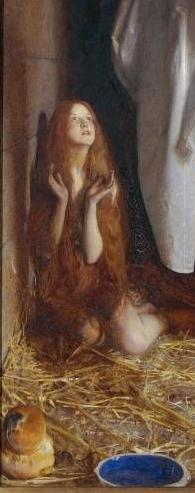 St Agnes in Prison Receiving from Heaven the 'Shining White Garment' 1905 Frank Cadogan Cowper (detail)