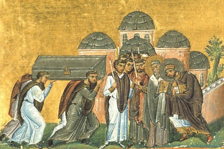 11th Century representation of Theodosius welcoming the relics of St John Chrysostom