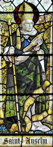 The stained glass window of St Anselm at St Chrysostom's