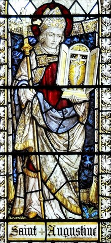 Detail from the St Augustine window in St Chrysostom's Church