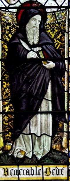 A detail from the stained glass window honouring Bede in St Chrysostom's Church