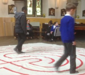 Children walking the labyrinth in the 24hrs of prayer