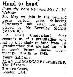 Hand to Hand - a contribution from the then Dean of St Pauls in 1980