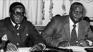 Robert Mugabe and Joshua Nkomo in the 1970s