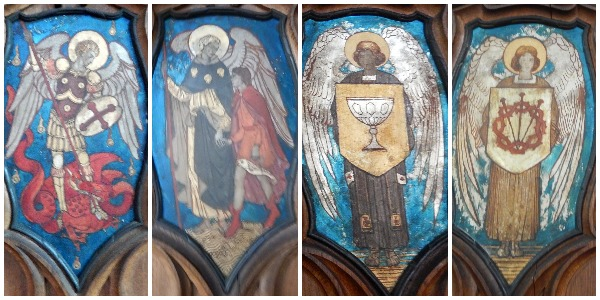 A selection of Angels and Archangels in the panelling of the Anson Chapel, St Chrysostom's