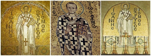 Mosaics of St John Chrysostom at (from left to right) Hagia Sophia, Istanbul, Cefalu Cathedral and St Chrysostom's Church, Chicago