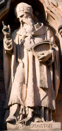 Statue of St John Chrysostom on Lichfield Cathedral