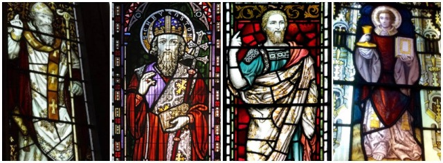 Stained glass windows of St John Chrysostom from (Left to Right) John Rylands library Manchester, St Thomas the Martyr, Oxford, Mansfield College, Oxford and St Laurence, Cowley.