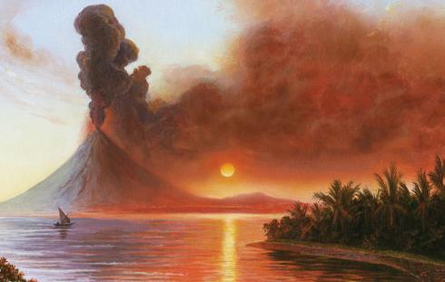 Artist's impression of Mt Tambora erupting