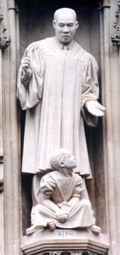 Statue of Martin Luther King at Westminster Abbey in London