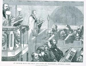 A service being signed at St Matthews, Bethnal Green, 1875 while hearing people listen to the preacher